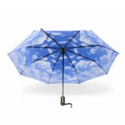 3 folding umbrella with clouds sky printing