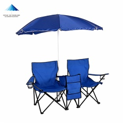 Outdoor portable folding picnic beach camping chair with umbrella table